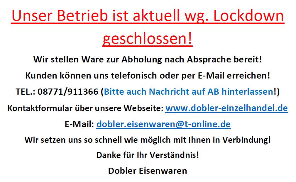 INFORMATION für unsere Kunden zum Lockdown